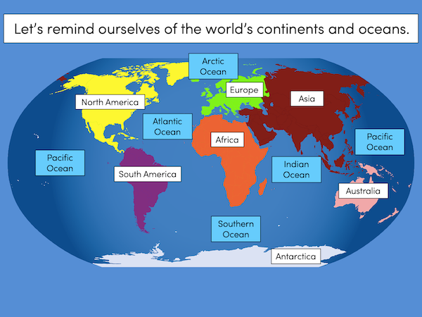 Identifying the continents and oceans of the world - presentation