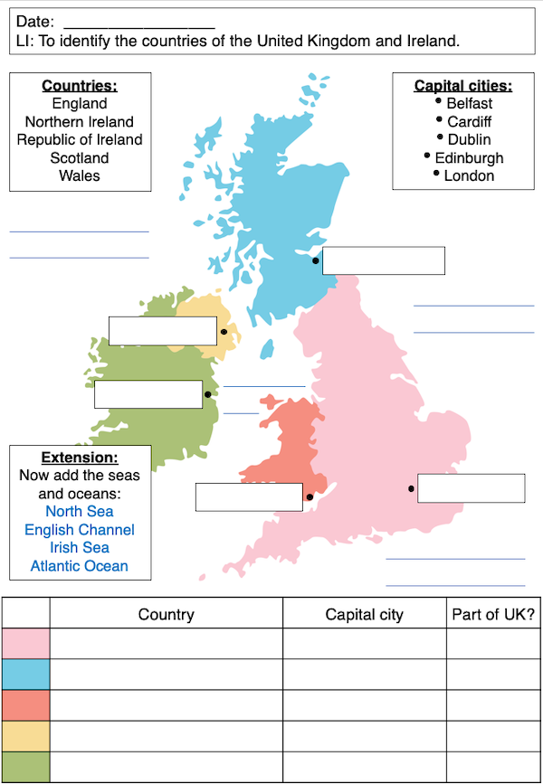 Identifying the counties and capitals of the UK and Ireland - activity - medium
