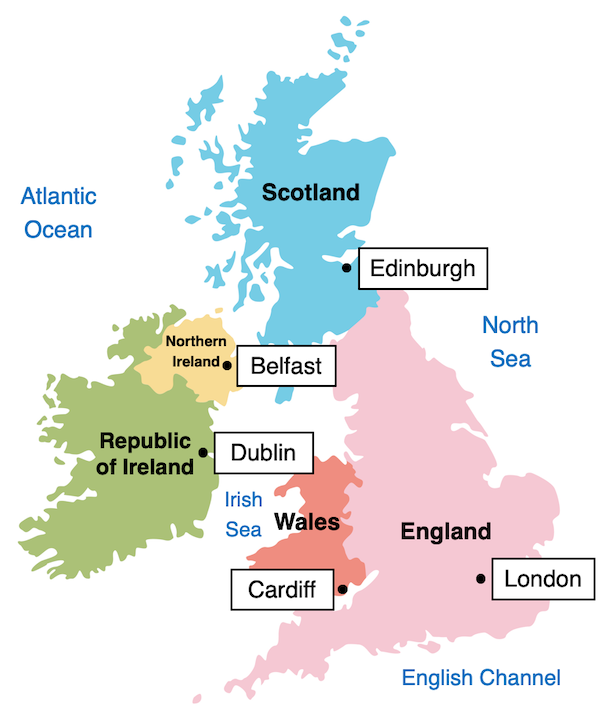 Identifying the counties and capitals of the UK and Ireland - map prompt