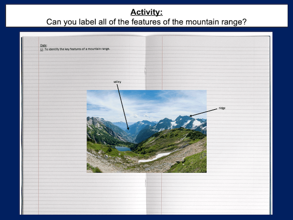 Identifying the key features of mountains - activity - harder