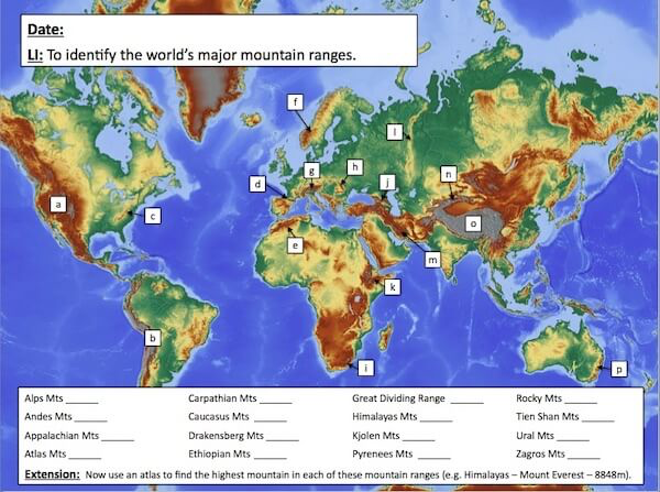 Identifying the world's major mountain ranges - activity - easier