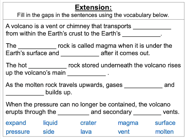 Investigating the structure of a volcano - extension