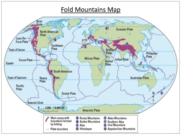 Understanding how fold mountains are formed - activity - map