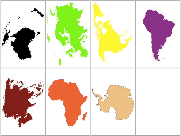 Continent matching activity - large pictures