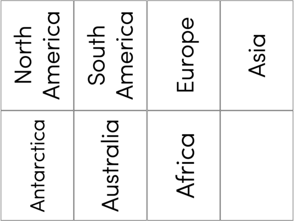 Continent matching activity - large vocabulary