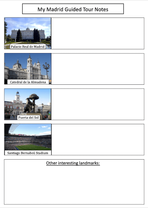 Tour of Madrid - cover image - notepad