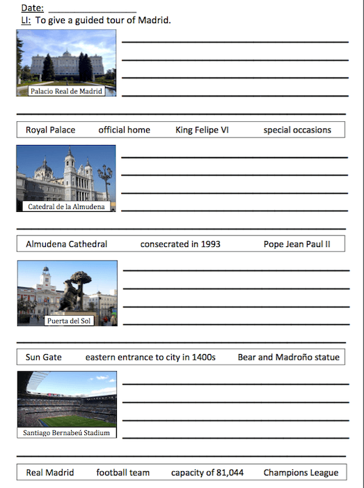 Tour of Madrid - cover image - writing activity - easier writing frame