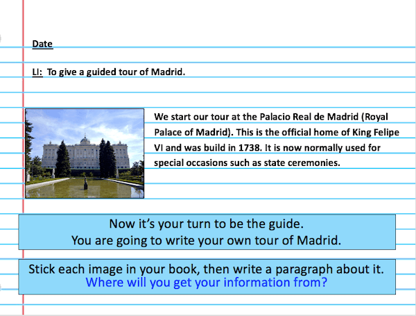 Tour of Madrid - cover image - writing activity - harder 1