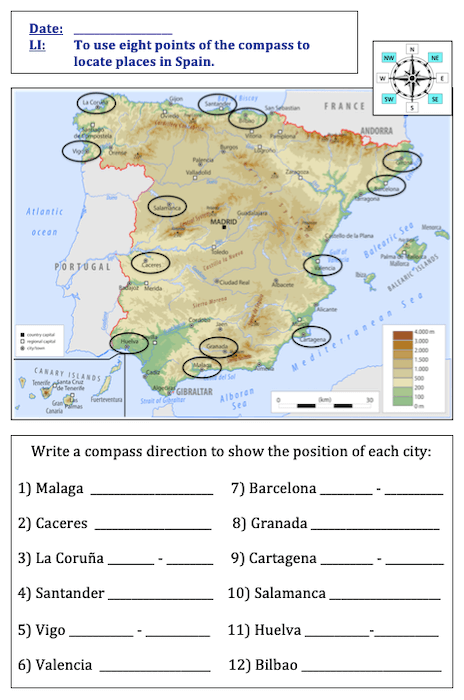Using 8 points of a compass to locate places in Spain - cover image - activity - easier