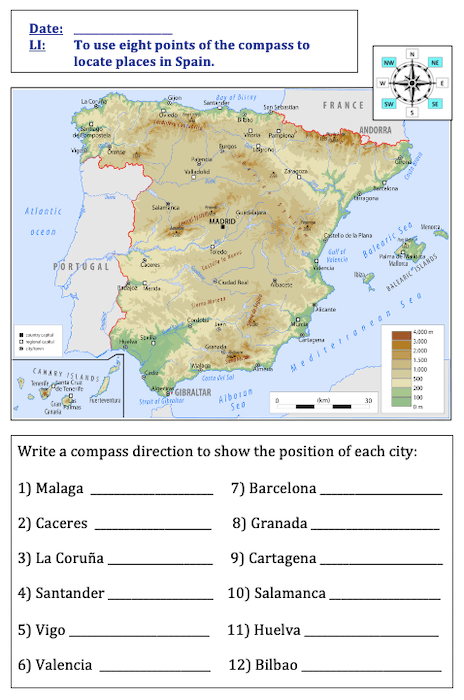 Using 8 points of a compass to locate places in Spain - cover image - activity - harder