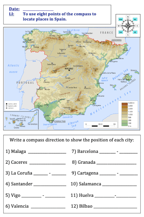 Using 8 points of a compass to locate places in Spain - cover image - activity - medium