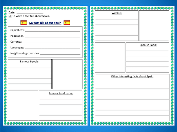 Writing a Spain fact file - activity - easier - both
