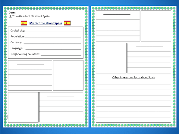 Writing a Spain fact file - activity - harder - both