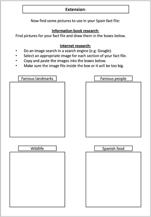 Writing a Spain fact file - research activity - extension
