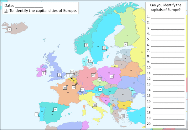 Identifying the capital cities of Europe - long activity - 20
